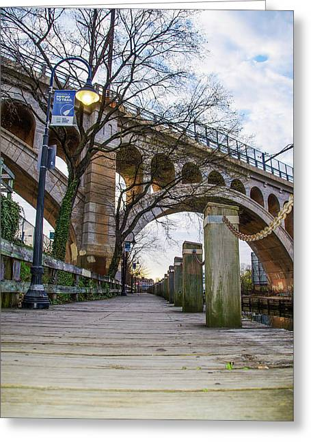 Manayunk - Towpath And Bridge Greeting Card by Bill Cannon
