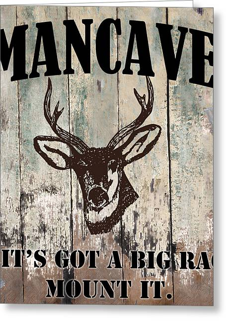 Mancave Deer Rack Greeting Card by Mindy Sommers