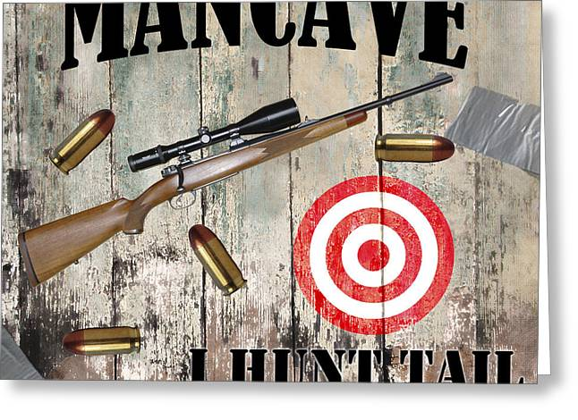 Mancave Hunt Tail Greeting Card by Mindy Sommers