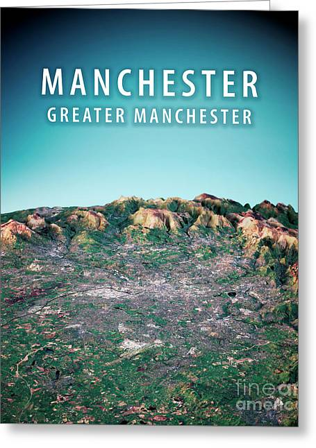 Manchester 3d Render Satellite View Topographic Map Vertical Greeting Card by Frank Ramspott