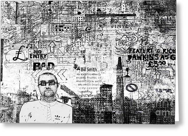 Manchester Graffito Greeting Card by Andy  Mercer
