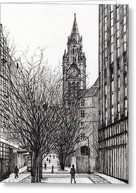 Manchester Town Hall From Deansgate Greeting Card by Vincent Alexander Booth