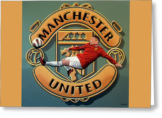 Manchester United - Manchester Painting Greeting Card by Paul Meijering