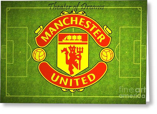 Greeting Card featuring the digital art Manchester United Theater Of Dreams Large Canvas Art, Canvas Print, Large Art, Large Wall Decor by David Millenheft