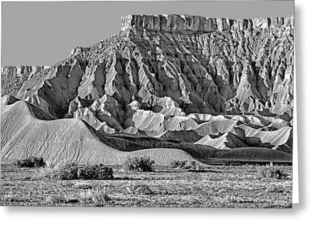 Mancos Shale - Geology - Utah - Black And White Greeting Card by Nikolyn McDonald