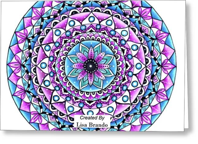 Mandala #2 Tapestry Bright Vivid Color Wall Art Print By Lisa Brando Throw Pllow Greeting Card