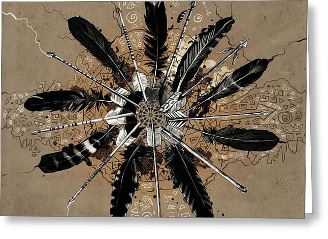 Mandala Arrow Feathers Greeting Card