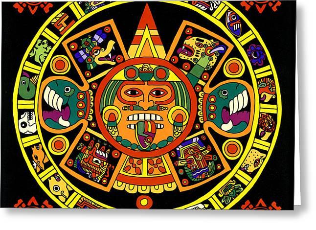 Mandala Azteca Greeting Card by Roberto Valdes Sanchez