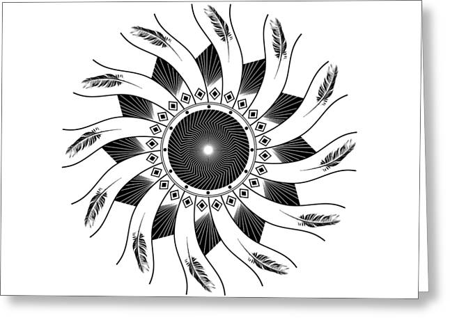 Mandala Black And White Greeting Card
