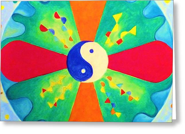Greeting Card featuring the painting Mandala by Denise Fulmer