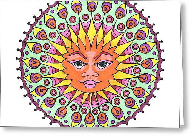 Peacock Sunburst Greeting Card