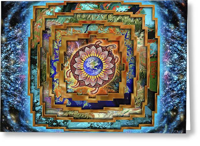 Mandala Gaia Greeting Card by Mark Myers