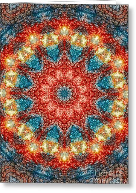 Mandala Abstract - Birth Of A Sun Greeting Card by Dirk Czarnota