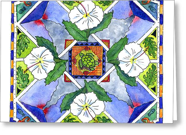 Mandala IIi - White Hibiscus Greeting Card