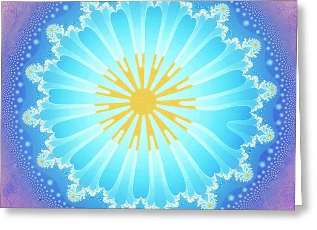 Greeting Card featuring the digital art Mandala by Jutta Maria Pusl