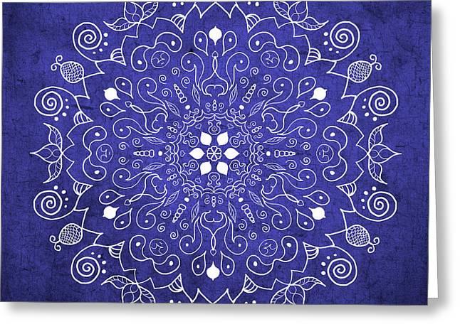 Mandala Midnight Blue Greeting Card