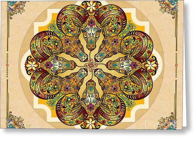 Mandala Sacred Rams - Bright Version Sp Greeting Card by Bedros Awak