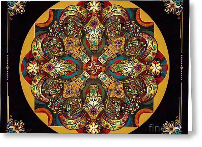 Mandala Sacred Rams - Dark Version Sp Greeting Card by Bedros Awak