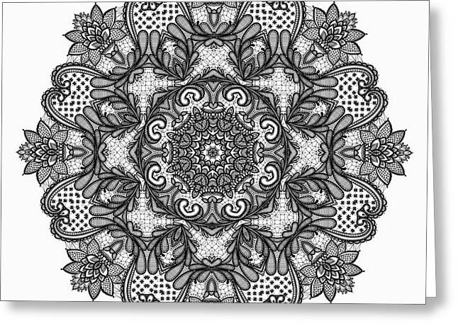 Greeting Card featuring the digital art Mandala To Color 2 by Mo T