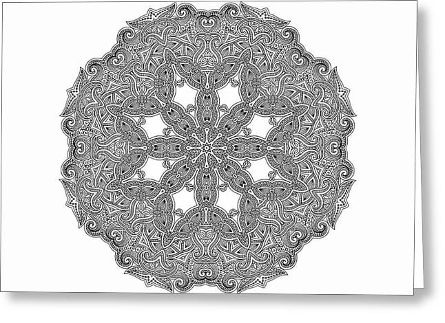 Greeting Card featuring the digital art Mandala To Color by Mo T