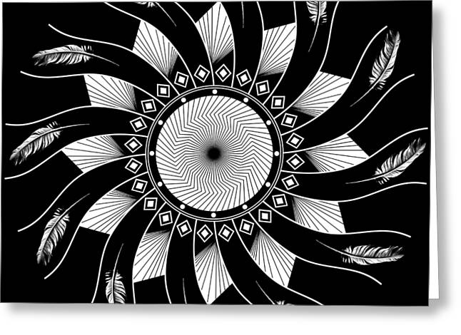 Mandala White And Black Greeting Card
