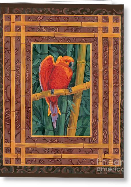 Mandarin Lovebird Greeting Card by Paul Brent