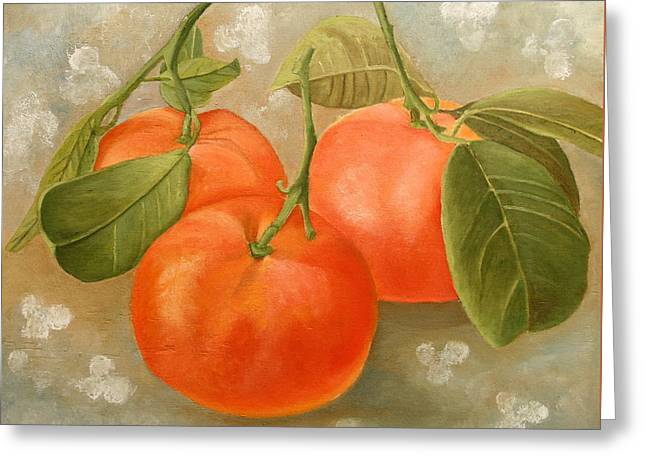 Greeting Card featuring the painting Mandarins by Angeles M Pomata