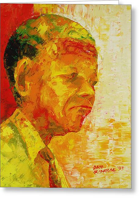 Mandela Greeting Card by Bayo Iribhogbe
