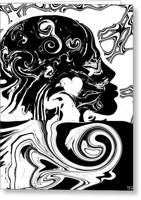 Mandela Effect... Dueling Realities Greeting Card by Abstract Angel Artist Stephen K