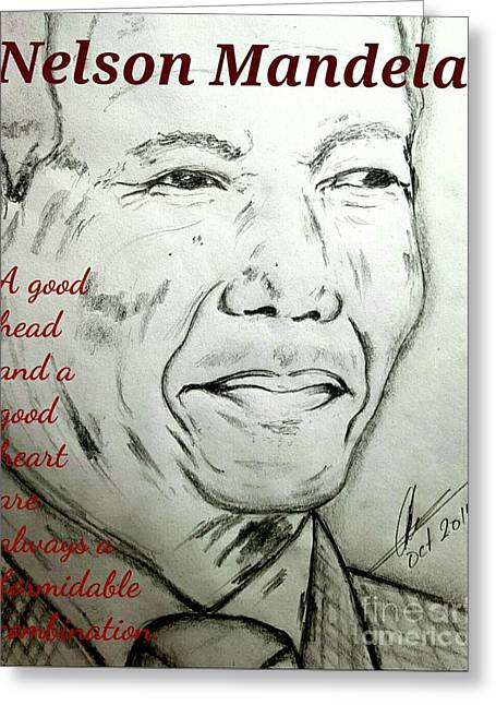 Mandela Quotes  Greeting Card by Collin A Clarke