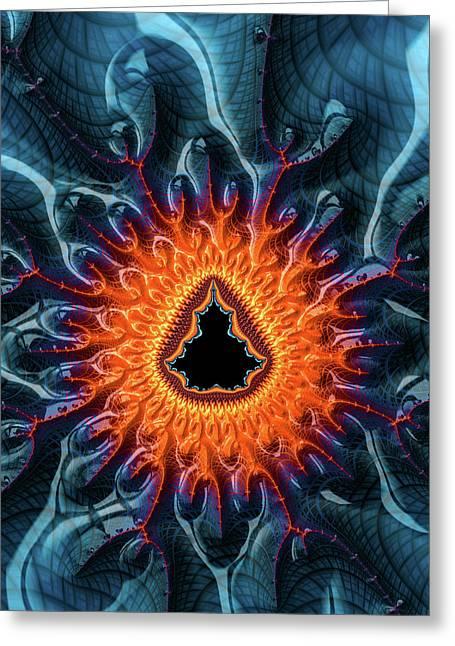 Greeting Card featuring the digital art Mandelbrot Fractal Orange And Dark Blue by Matthias Hauser