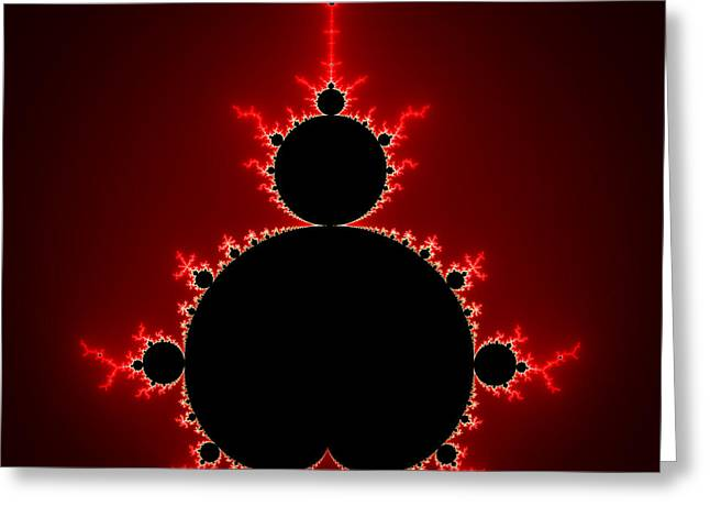 Mandelbrot Set Black And Red Square Format Greeting Card