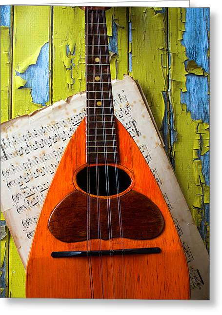Mandolin And Old Sheet Music Greeting Card by Garry Gay