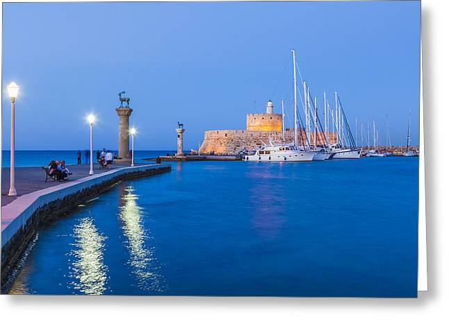 Mandraki Harbour At Night Greeting Card by Werner Dieterich