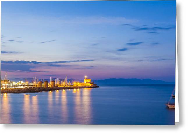 Mandraki Harbour At Twilight Greeting Card by Werner Dieterich