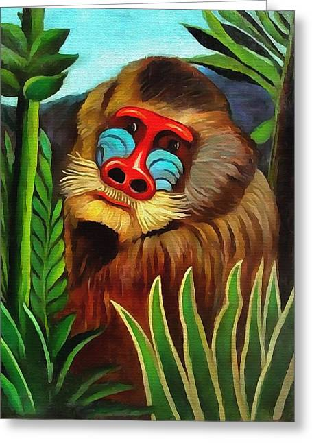 Mandrill In The Jungle Greeting Card