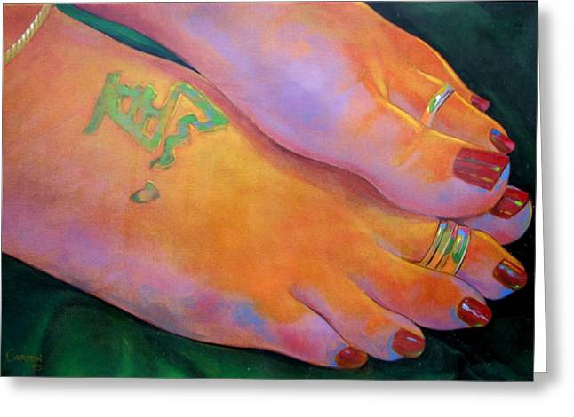 Mandy Toes Orange Greeting Card by Jerrold Carton