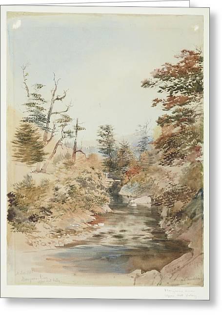 Mangaroa River, Upper Hutt Valley, November 1868, By Nicholas Chevalier Greeting Card