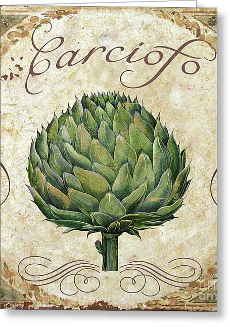 Mangia Artichoke Greeting Card by Mindy Sommers