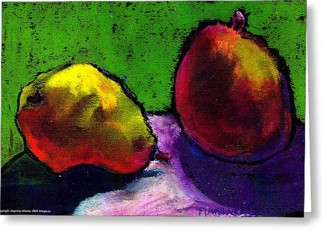 Mango And Pear Greeting Card by Angelina Marino