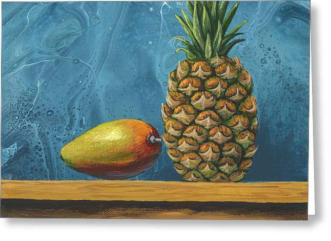 Greeting Card featuring the painting Mango And Pineapple by Darice Machel McGuire