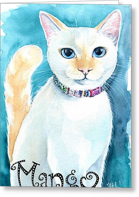 Mango - Flame Point Siamese Cat Painting Greeting Card