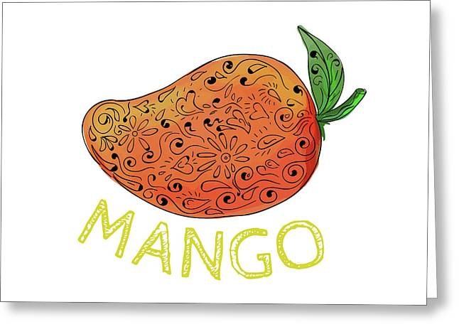 Mango Juicy Fruit Mandala  Greeting Card by Aloysius Patrimonio