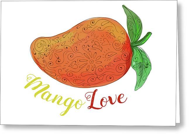 Mango Love Fruit Watercolor Mandala  Greeting Card by Aloysius Patrimonio