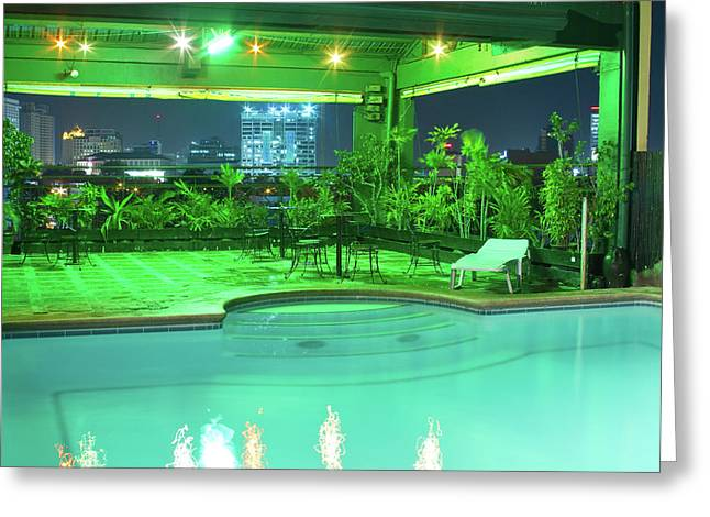 Mango Park Hotel Roof Top Pool Greeting Card by James BO  Insogna