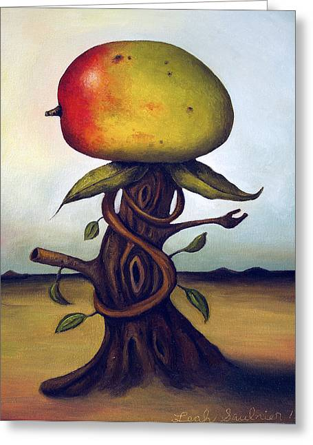 Mango Tree Aka Senor Mango Greeting Card by Leah Saulnier The Painting Maniac