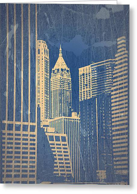 City Buildings Digital Greeting Cards - Manhattan 1 Greeting Card by Naxart Studio
