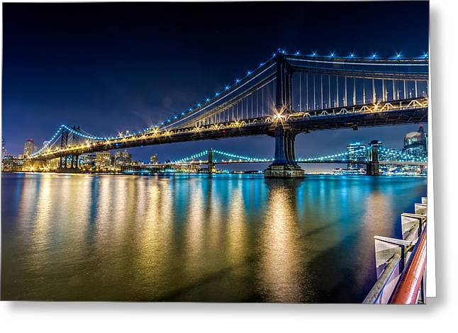 Manhattan And Brooklyn Bridges At Night. Greeting Card