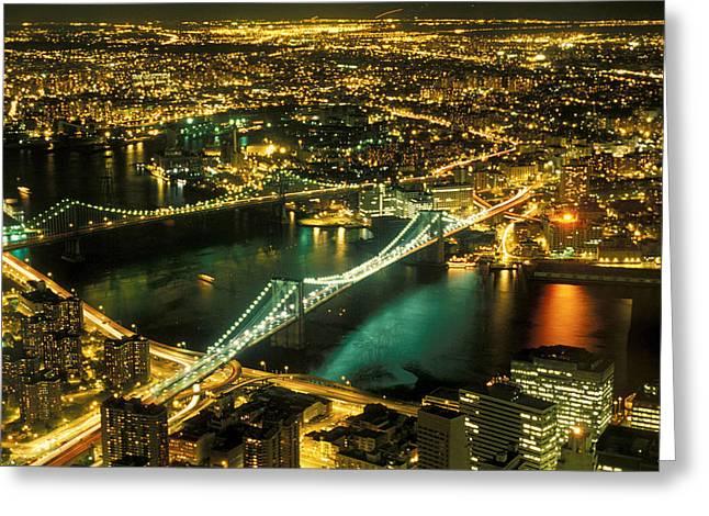 Manhattan And Brooklyn Bridges Greeting Card