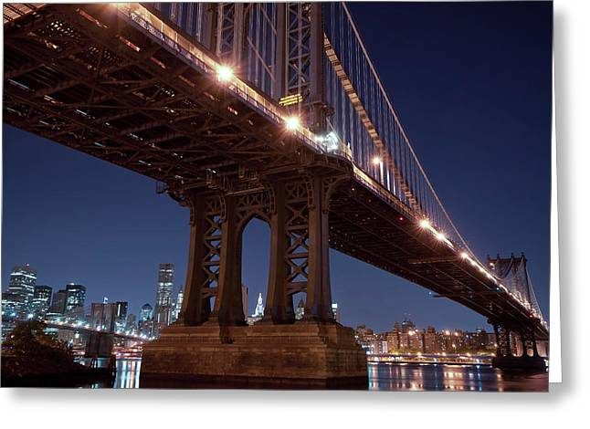 Manhattan And Brooklyn Bridges Greeting Card